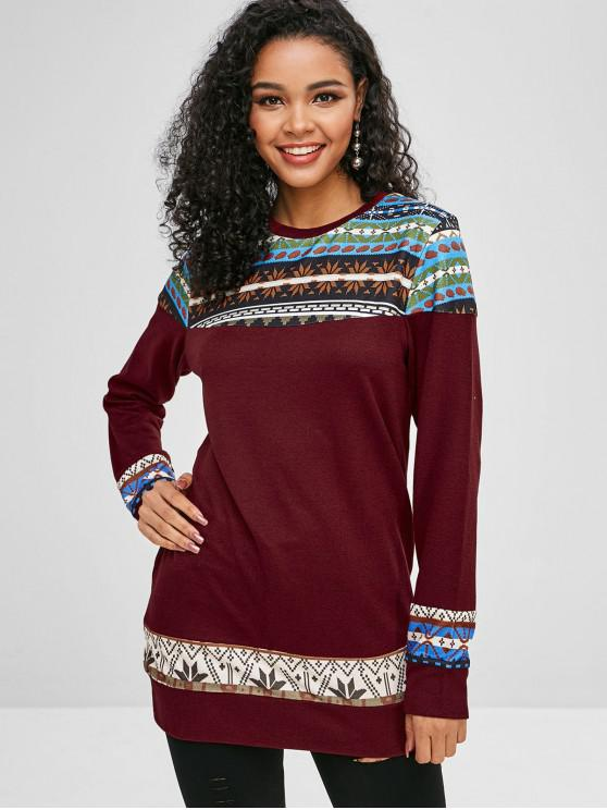 ladies Graphic Loose Longline Sweater - RED WINE M