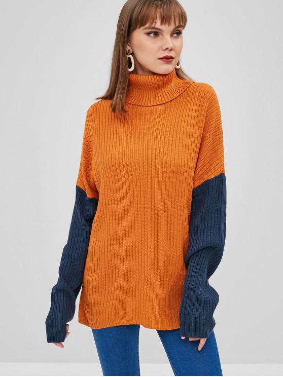 hot Color Block Turtleneck Longline Sweater - SANDY BROWN L