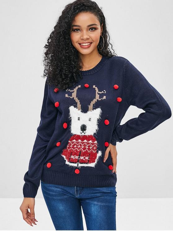 shop Pompoms Reindeer Graphic Loose Sweater - DEEP BLUE M