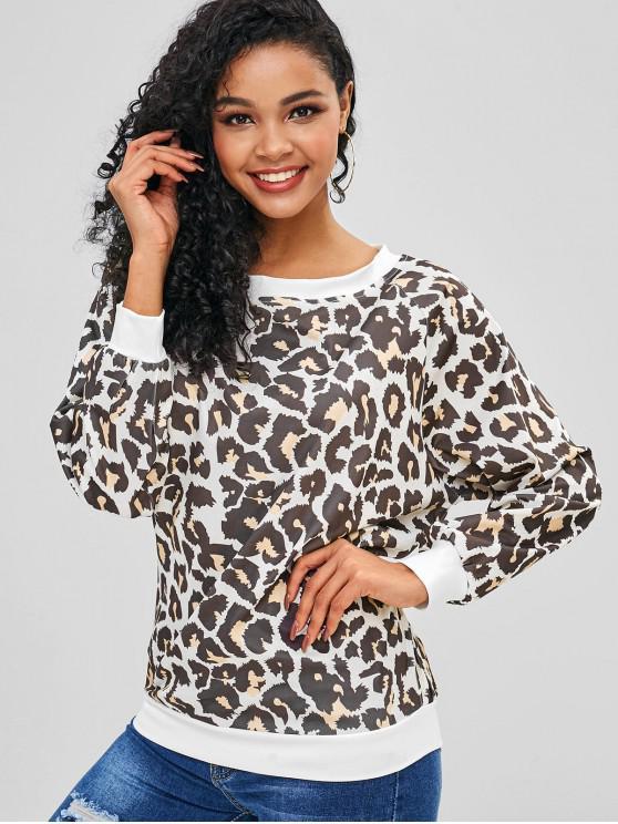 hot Raglan Sleeved Leopard Print Sweatshirt - LEOPARD L