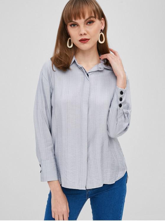 قميص الكفة بأزرار - ازرق فاتح L