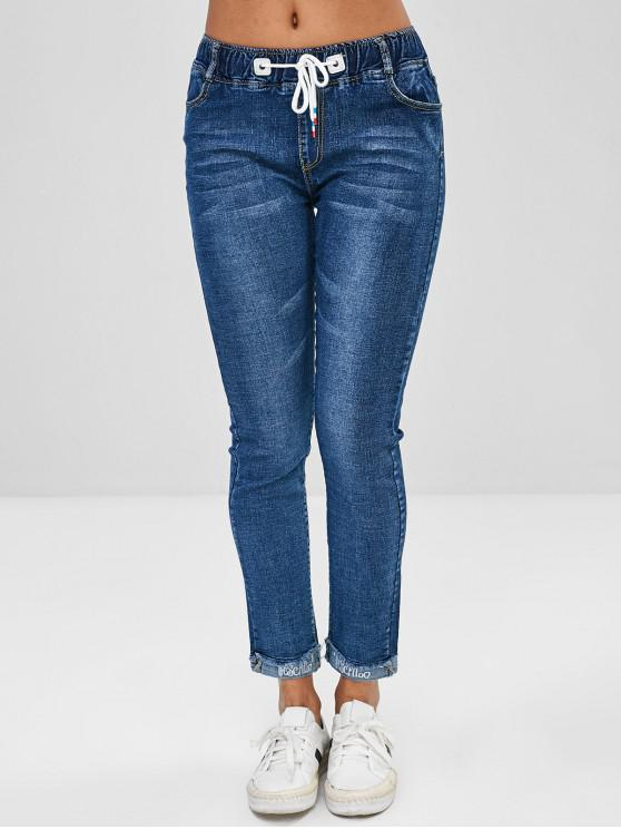Jeans Ricamati A Lettere Con Coulisse - Blu XL