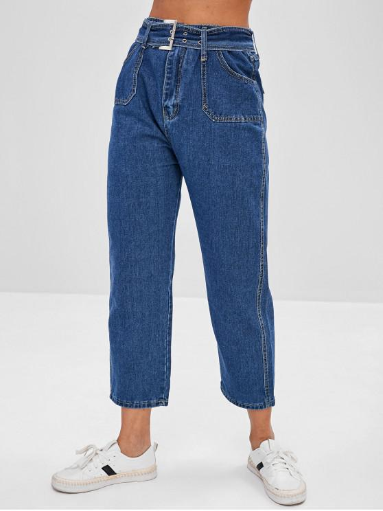 women Zipper Fly Belt High Waisted Jeans - BLUE XL