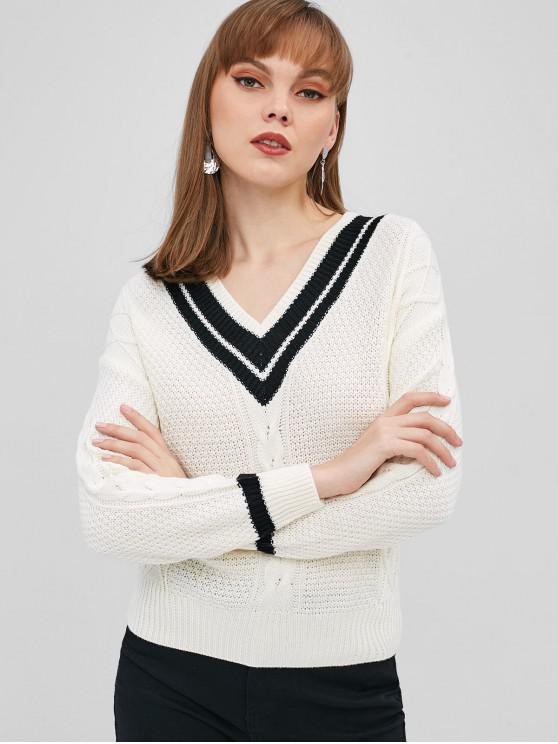 b6dca69a5 47% OFF  2019 V Neck Stripes Cable Knit Sweater In WHITE