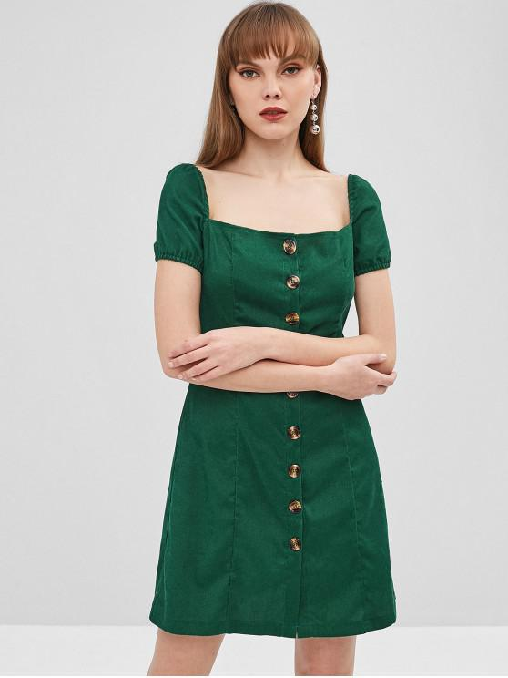 online Square Button Up Corduroy Dress - MEDIUM SEA GREEN XL