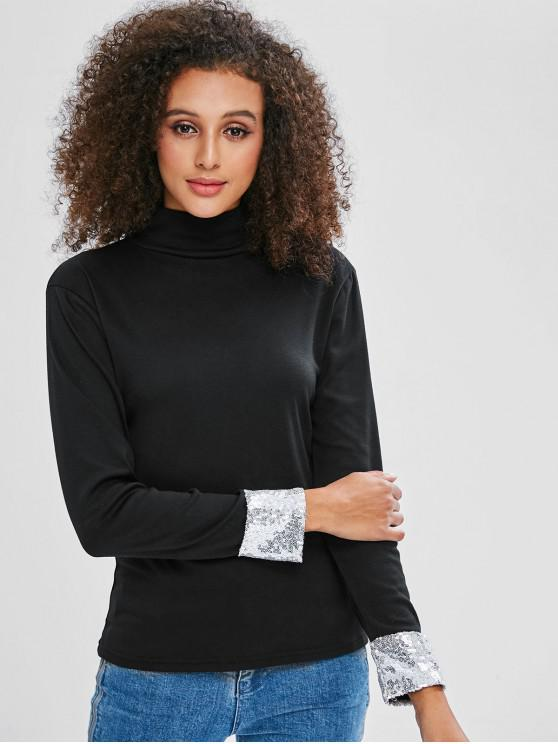 fashion Slim Sequined Cuff Sleeve Tee - BLACK S