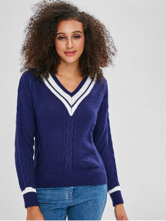 sale V Neck Stripes Cable Knit Sweater - DEEP BLUE ONE SIZE