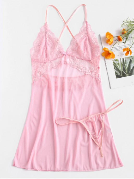 fashion Criss Cross Bowknot Lace Insert Lingerie Dress - PIG PINK L