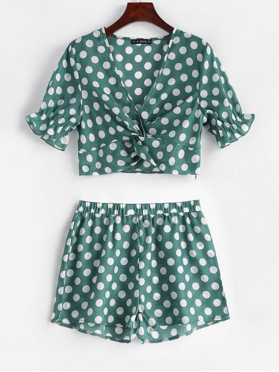 ZAFUL Twist Front Polka Dot Top e Shorts Set - Verde de Pinho M