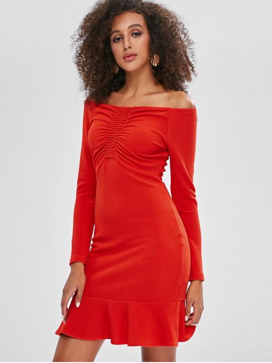 women's Cinched Off Shoulder Ruffles Mini Dress - BRIGHT ORANGE L