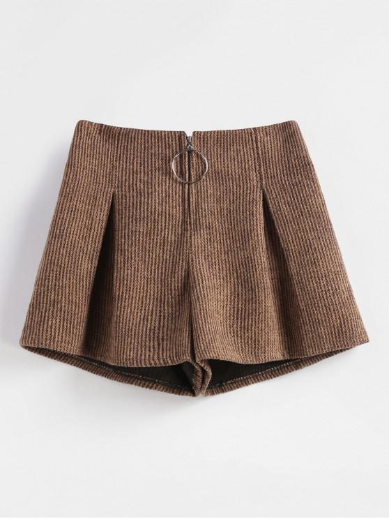 online Zipper Front Wide Leg Shorts - BROWN XL