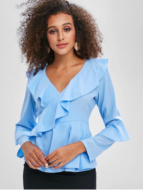 women's V Neck Ruffles Wrap Blouse - DENIM BLUE L
