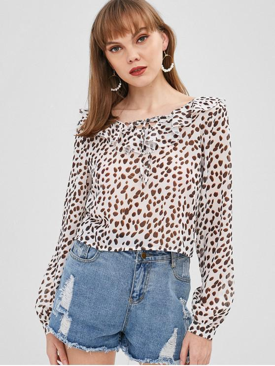 new Tied Ruffles Leopard Blouse - CRYSTAL CREAM XL