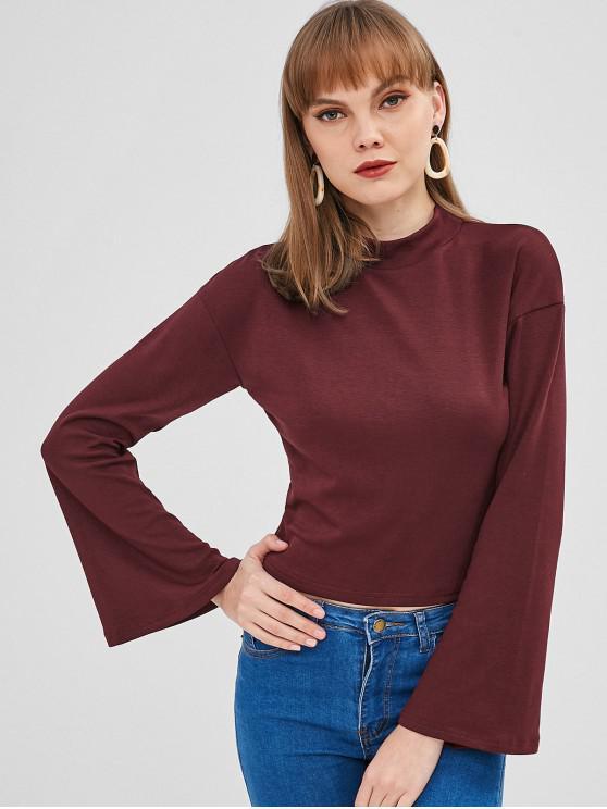 fashion Plain Flare Sleeve Tee - VELVET MAROON L