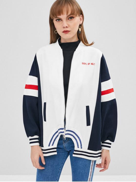 shop Striped Letter Drop Shoulder Loose Jacket - MULTI M
