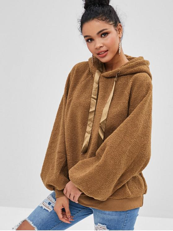 ladies Raglan Sleeve Fluffy Teddy Hoodie - CARAMEL ONE SIZE