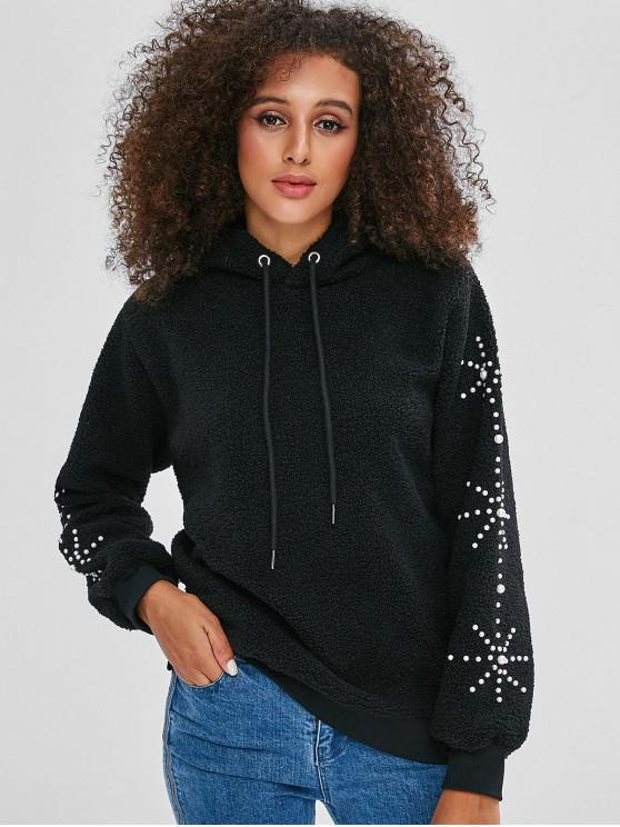 affordable Fluffy Faux Pearl Embellished Teddy Hoodie - BLACK L