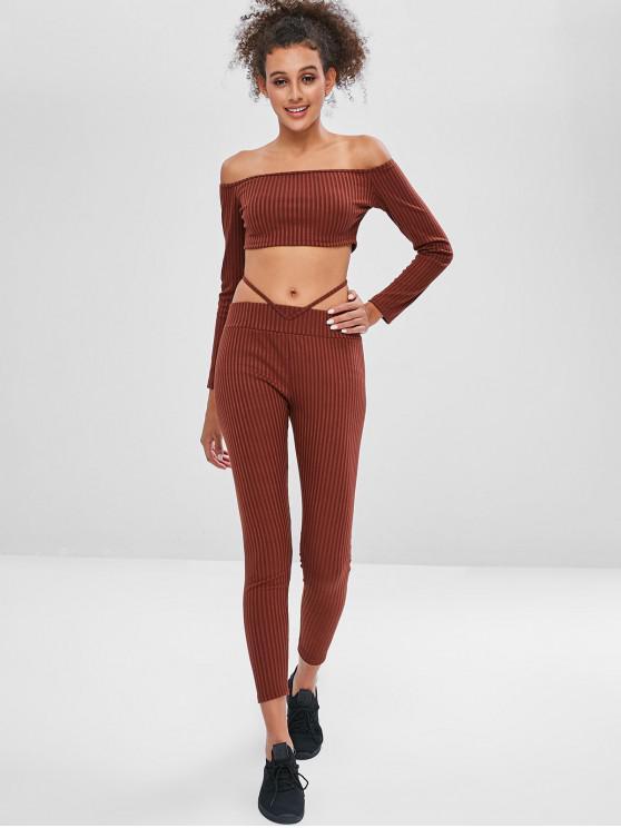 best Off Shoulder Crop Gym Tee and Pants Set - BROWN M