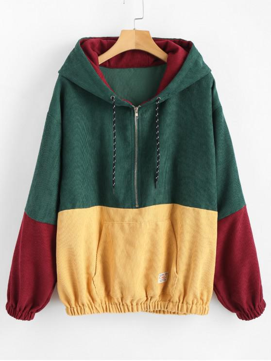 sale ZAFUL Zipper Pullover Corduroy Contrast Hoodie - MEDIUM AQUAMARINE XL