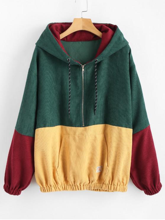women ZAFUL Zipper Pullover Corduroy Contrast Hoodie - MEDIUM AQUAMARINE 2XL