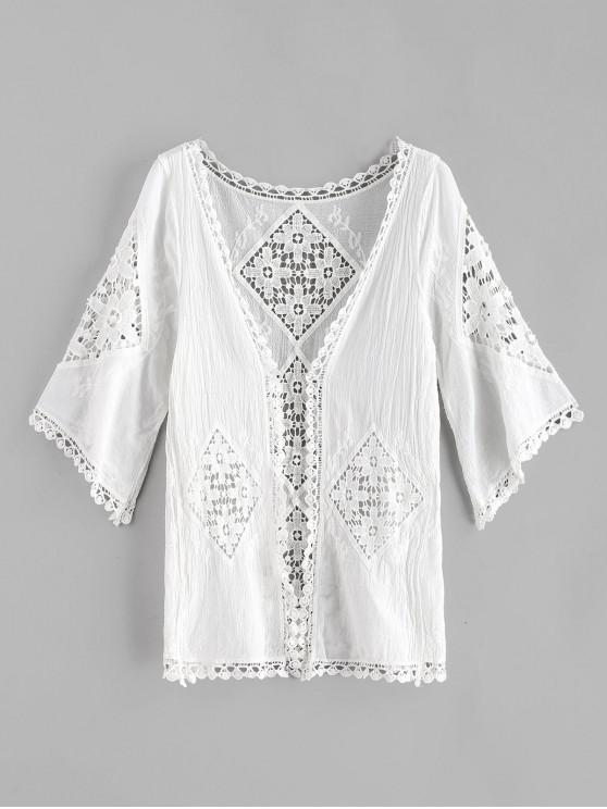 fashion Laced Kimono Cover-up - WHITE ONE SIZE