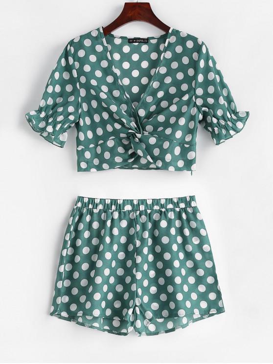 shop ZAFUL Twist Front Polka Dot Top and Shorts Set - PINE GREEN M