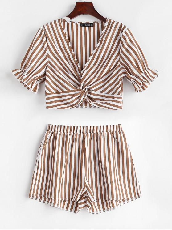 outfits ZAFUL Twist Front Crop Striped Shorts Set - COFFEE L