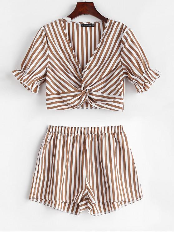 Conjunto de pantalones cortos a rayas con fruncido delantero ZAFUL - Café XL
