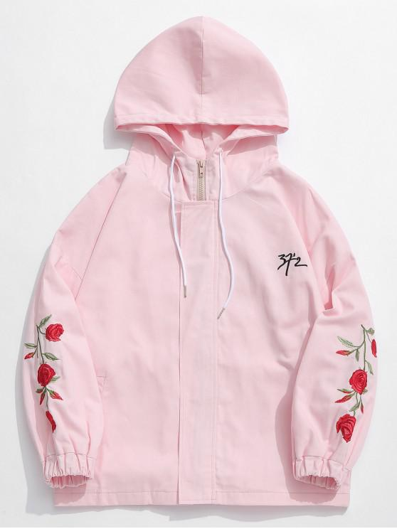 shop Zip Fly Flower Embroidery Hooded Jacket - PINK XL