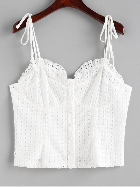 affordable Button Up Eyelet Cami Top - WHITE L