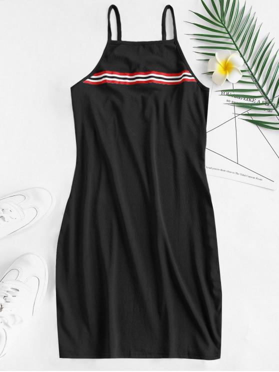 Mini Vestido a Rayas con Tirante Fino - Negro M