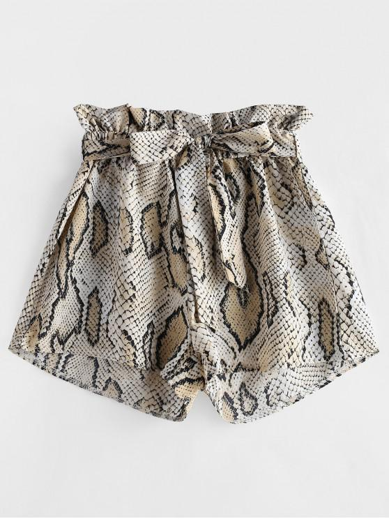 online ZAFUL Snakeskin Print Wide Leg Belted Shorts - MULTI S
