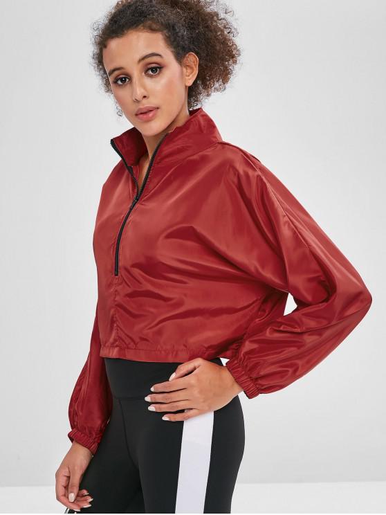 unique Batwing Half Zip Pullover Sweatshirt - CHESTNUT RED M