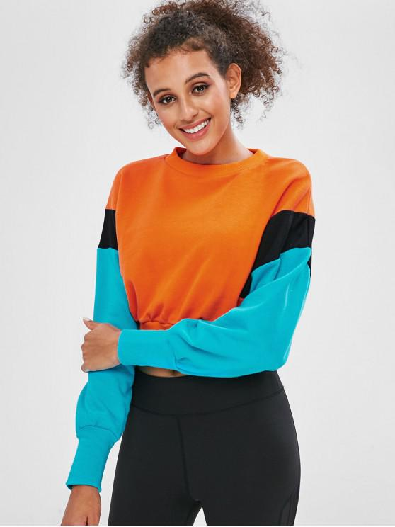 womens Color Block Tricolor Terry Cropped Sweatshirt - ORANGE L