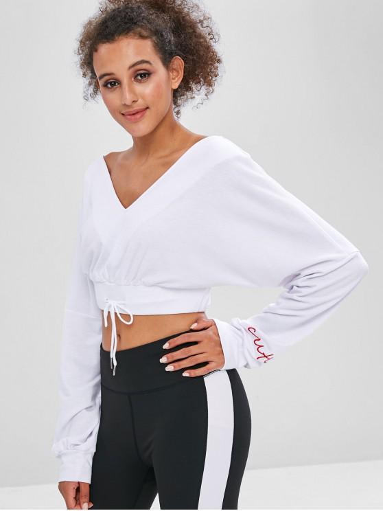 women's Double V Neck Cropped Sweatshirt - WHITE L