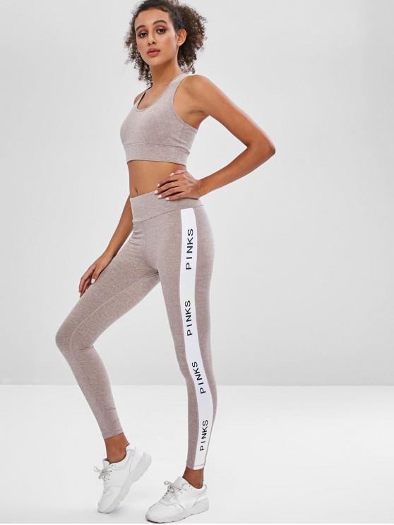 fashion Sports Bra and Leggings Sweat Suit - MULTI L