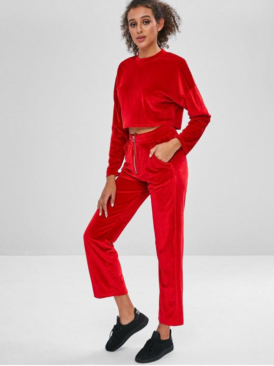 best Velvet Crop Top and Wide Leg Pants Sweat Suit - RED M