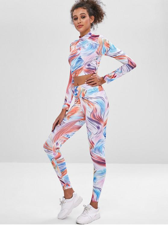 hot Printed Crop Sports Top and Leggings Sweat Suit - MULTI-A L