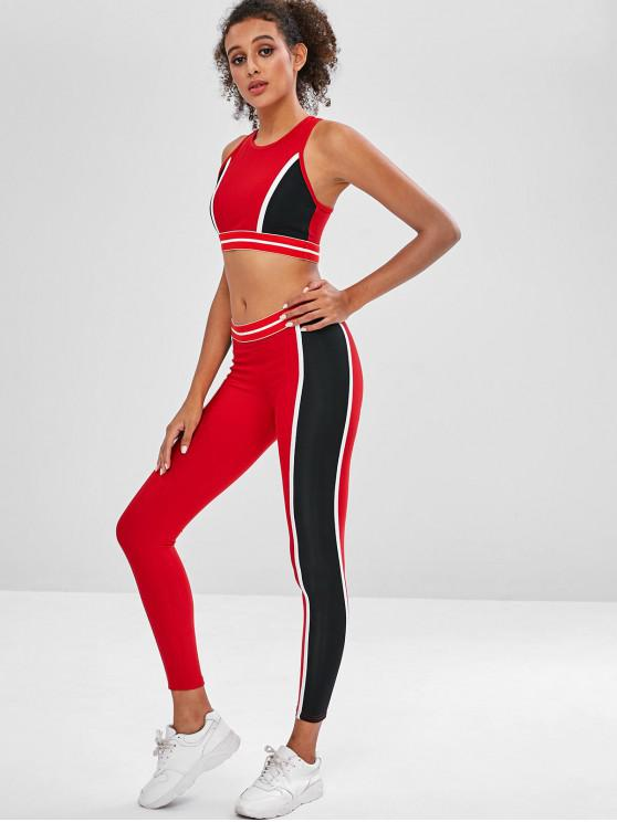 shops Color Block Sports Bra and Leggings Sweat Suit - RED L