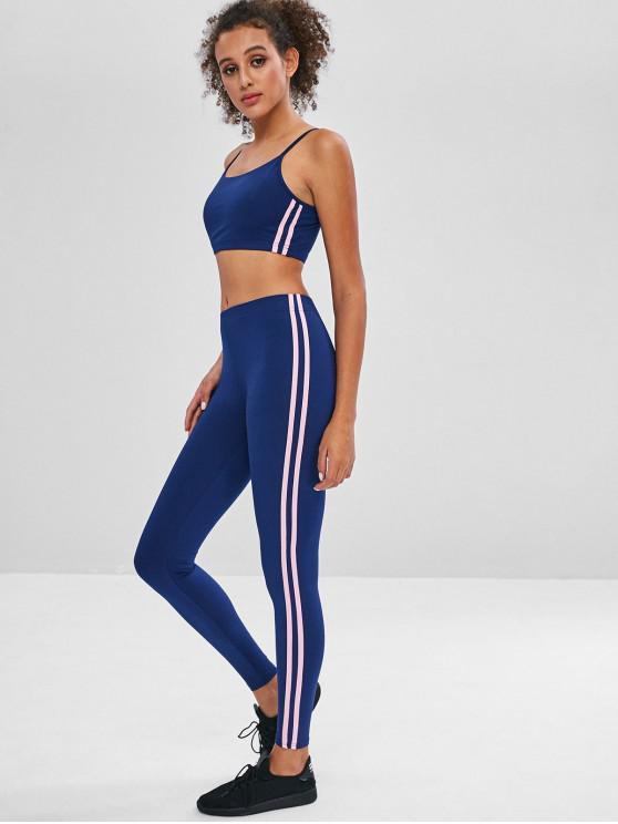 ladies Striped Sports Bra and Leggings Sweat Suit - DEEP BLUE M