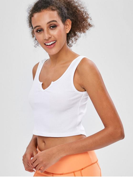 shops Ribbed Scoop Crop Tank Top - WHITE L