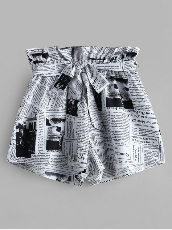 shops ZAFUL Newspaper Print Belted Loose Shorts - WHITE S