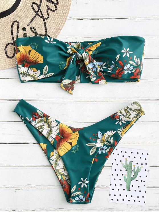 shop ZAFUL Knot Floral Bandeau Bikini Set - GREENISH BLUE S