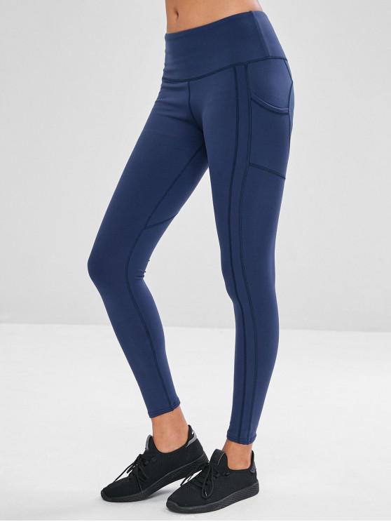 women Wide Waistband Pocket Gym Leggings - CADETBLUE L