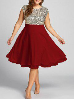 Robe De Cocktail à Volants Avec Paillettes Scintillantes Grande Taille - Rouge 5xl