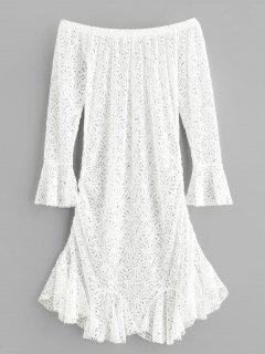 Schulterfrei Blume Häkeln Meerjungfrau Kleid - Weiß