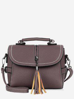 Tassel Leather Lichee Shading Handbag - Dull Purple