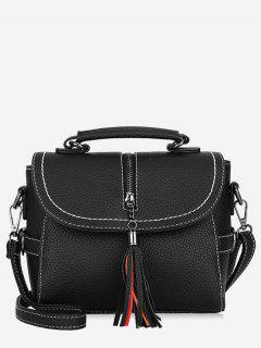Tassel Leather Lichee Shading Handbag - Black