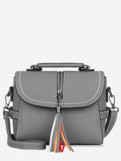 Tassel Leather Lichee Shading Handbag - Gray