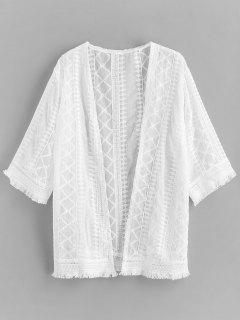 Crochet Frayed Hem Beach Cover Up - White